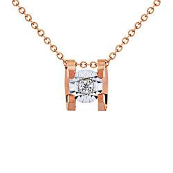 Μενταγιόν Κ18 ροζ χρυσό με διαμάντι - G123503