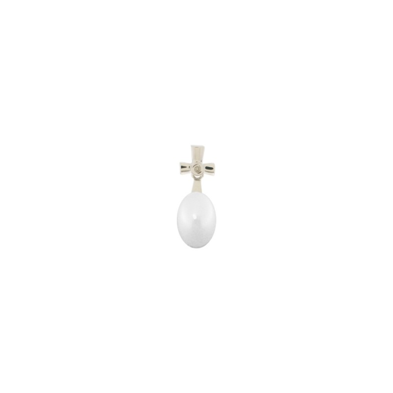 Μενταγιόν με Κ18 λευκόχρυση βάση, λευκό μαργαριτάρι και διαμάντι - W317581