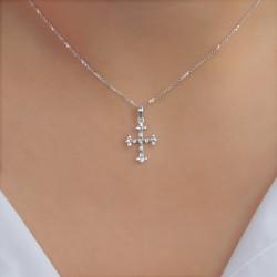 Χρυσός Κ18 σταυρός με διαμάντια - M315003
