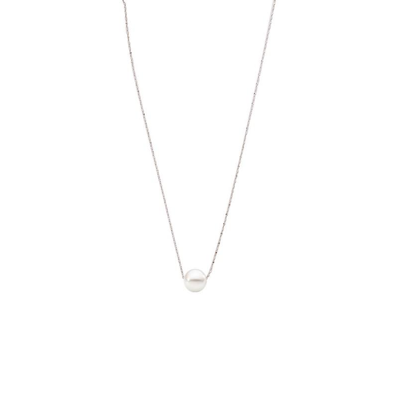 Κολιέ με λευκό μαργαριτάρι και ασημένια αλυσίδα 925 - M121225