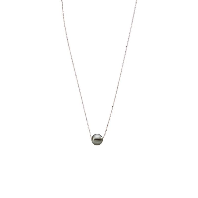Κολιέ με μαύρο μαργαριτάρι και ασημένια αλυσίδα 925 - M121225B
