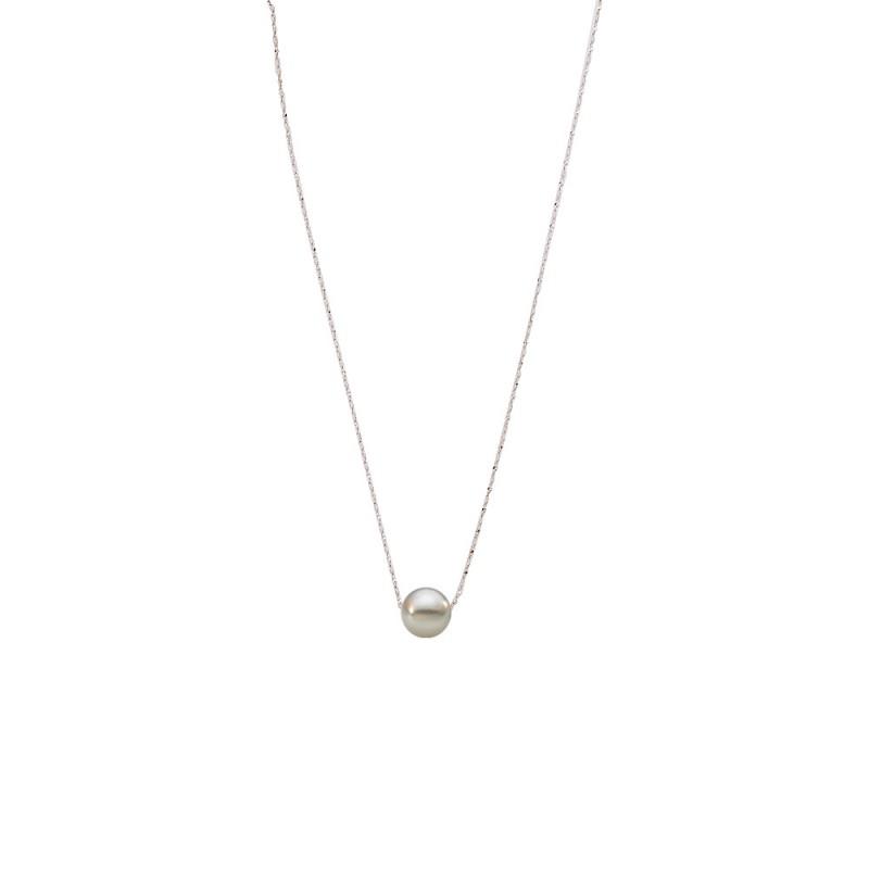 Κολιέ με γκρι μαργαριτάρι και αλυσίδα - M121225G