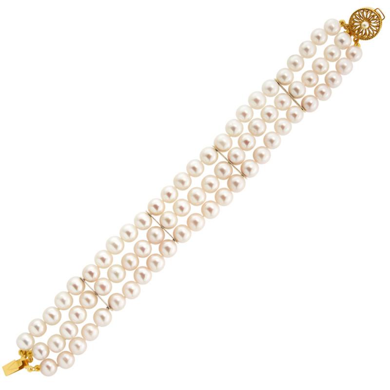 Βραχιόλι με μαργαριτάρια 7,0-7,5mm και χρυσά στοιχεία Κ14 - G122325