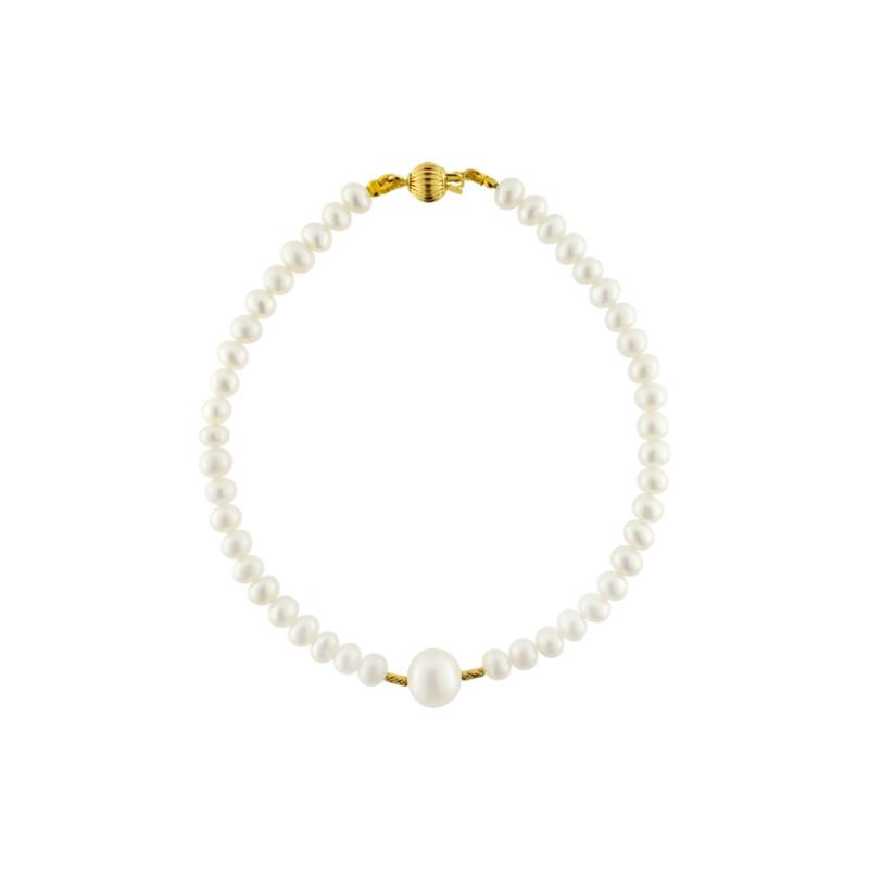 Βραχιόλι με λευκά μαργαριτάρια και χρυσά στοιχεία Κ18 - G122738