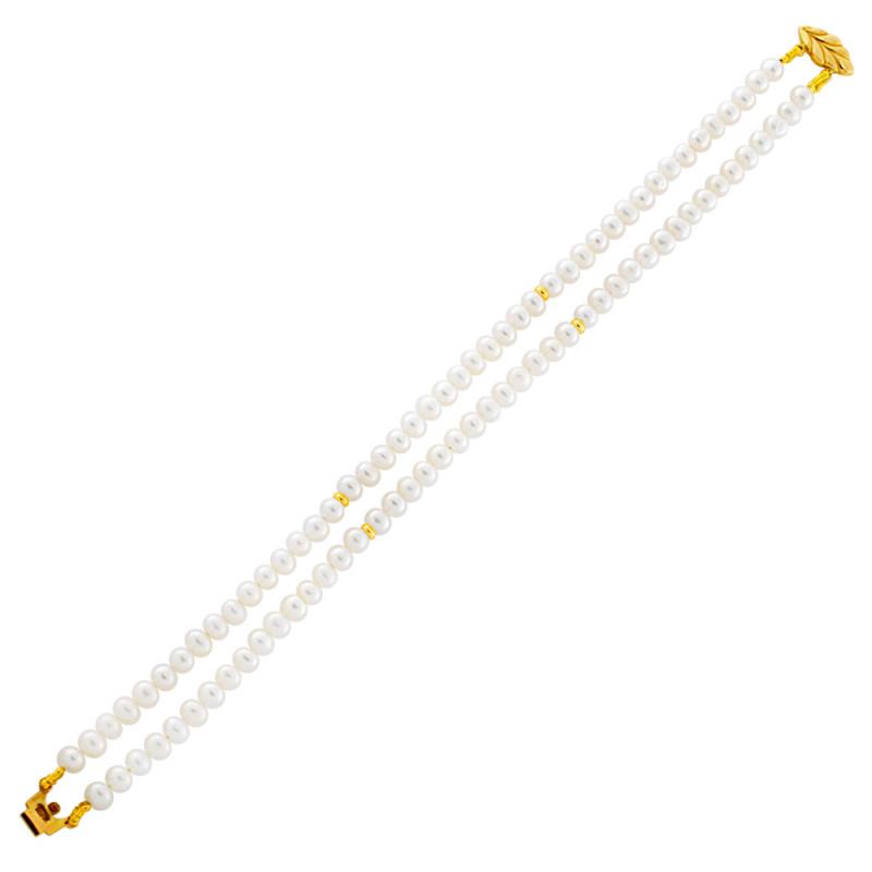 Βραχιόλι με μαργαριτάρια 4,0-4,5mm και χρυσά στοιχεία Κ14 - G122772