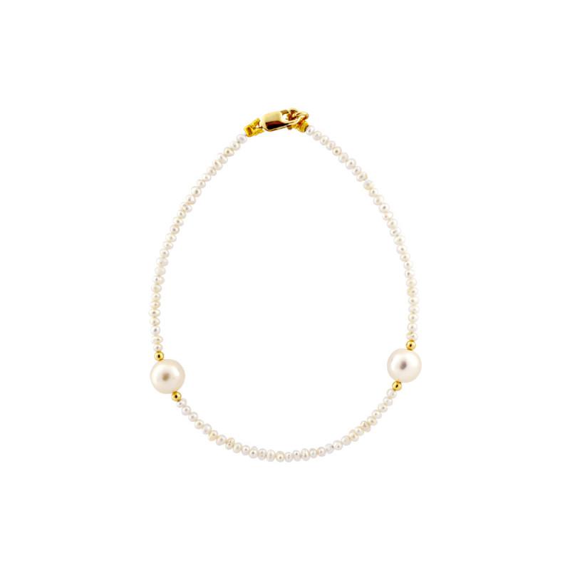 Βραχιόλι με μαργαριτάρια 2,0-6,5mm και χρυσά στοιχεία Κ14 - G122777