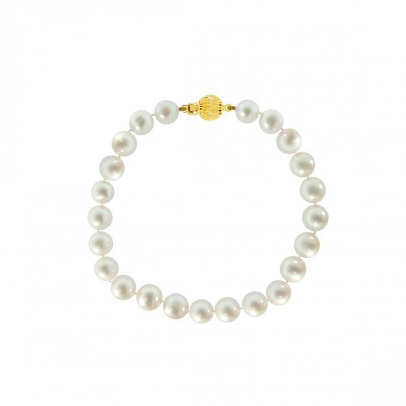 Βραχιόλι με μαργαριτάρια 7,0-7,5mm και χρυσό κούμπωμα Κ14 - G220115