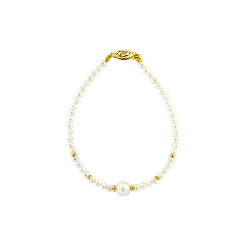 Βραχιόλι με μαργαριτάρια 4,0-9,0mm και χρυσά στοιχεία Κ14 - G220605