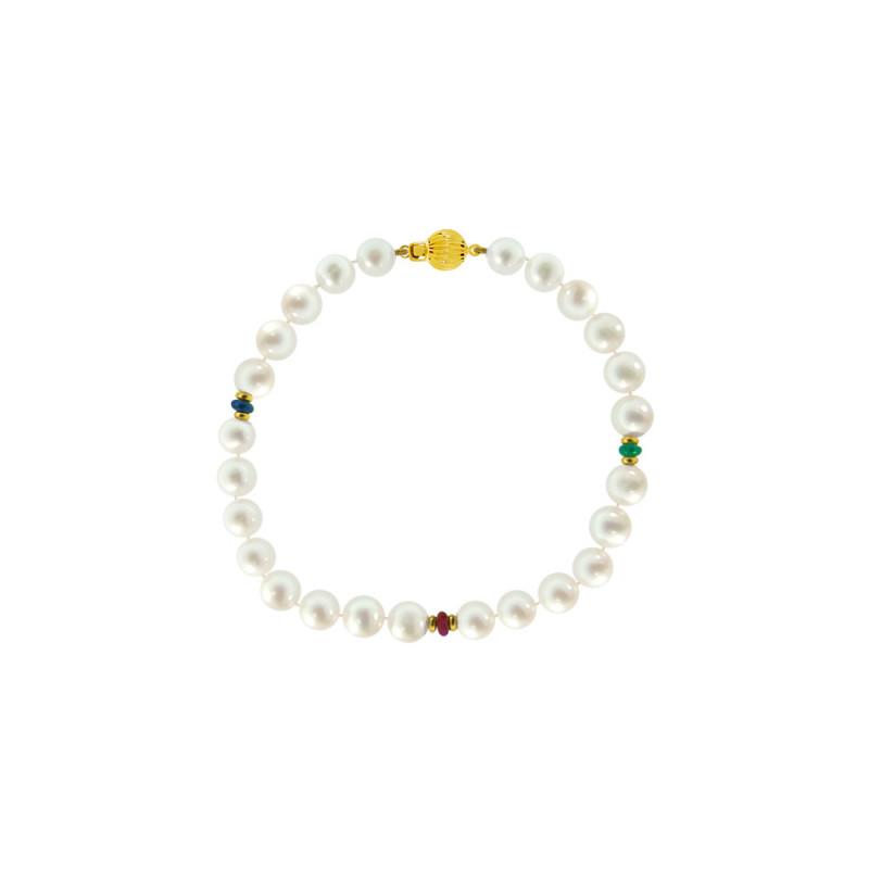 Βραχιόλι με λευκά μαργαριτάρια και πολύτιμους λίθους - G121143
