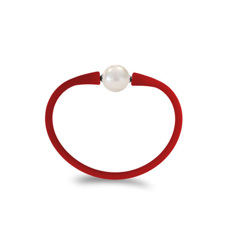 Βραχιόλι με Shell Pearl 14,0mm Red Elastic Silicon - M322358BRS