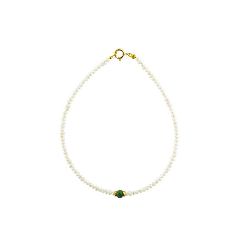 Βραχιόλι με μαργαριτάρια, σμαράγδι και χρυσά στοιχεία Κ14 - M122473E