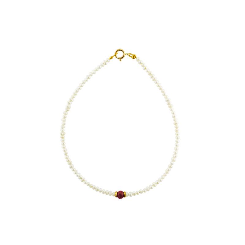 Βραχιόλι με μαργαριτάρια, ρουμπίνι και χρυσά στοιχεία Κ14 - M122473R