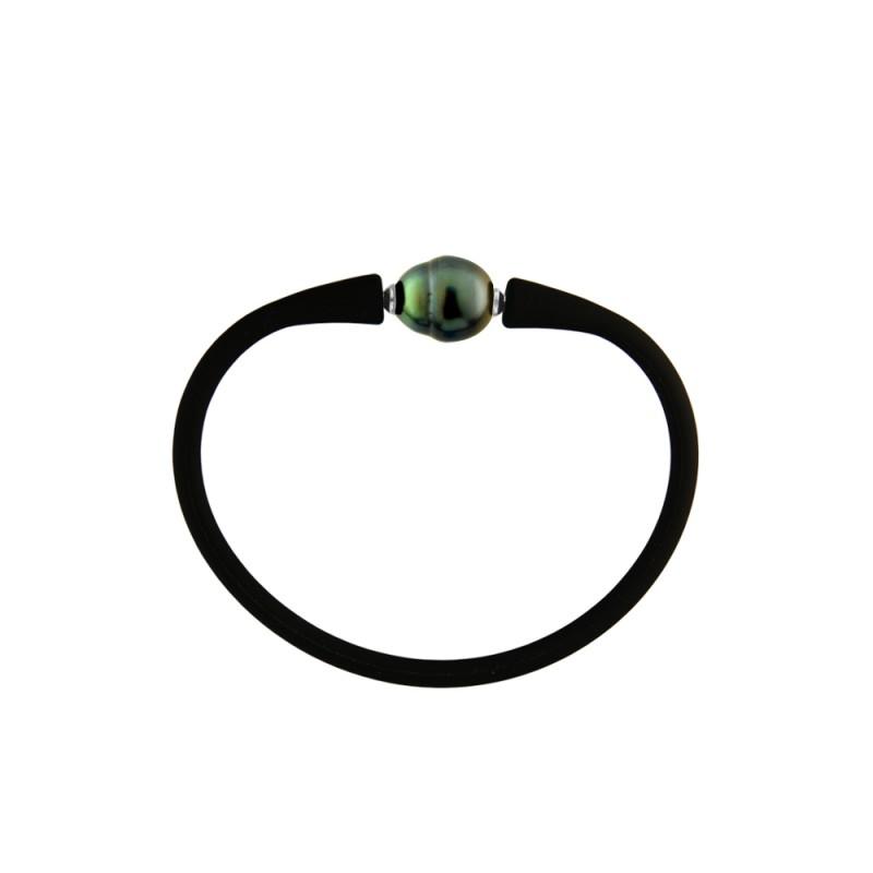 Βραχιόλι με μαργαριτάρι 11,0-13,0mm Black Elastic Silicon - M122715BRCB