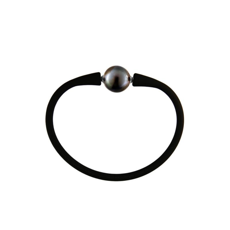 Βραχιόλι με μαργαριτάρι 9.0-10.0mm Black Elastic Silicon - M122715BRCB