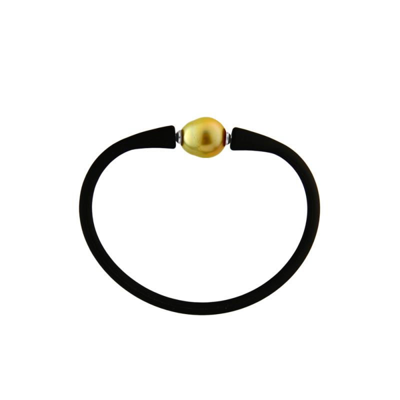 Βραχιόλι με gold μαργαριτάρι 11,0-13,0mm Black Elastic Silicon - M122715BRCG