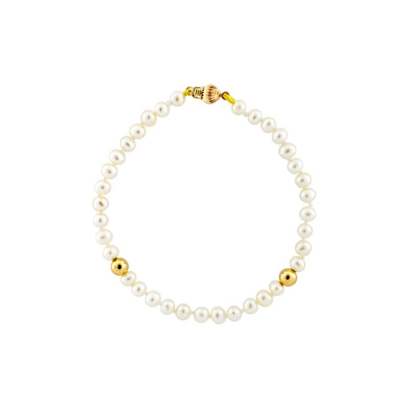 Βραχιόλι με μαργαριτάρια 4,0-4,5mm και χρυσά στοιχεία Κ14 - M122755