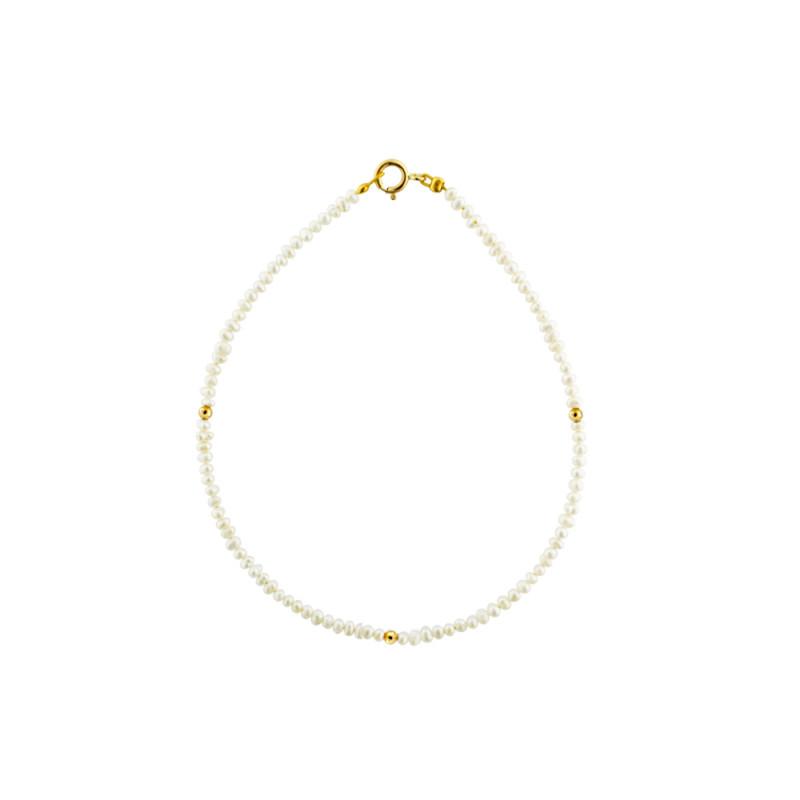 Βραχιόλι με μαργαριτάρια 2,0-3,0mm και χρυσά στοιχεία Κ14 - M123696