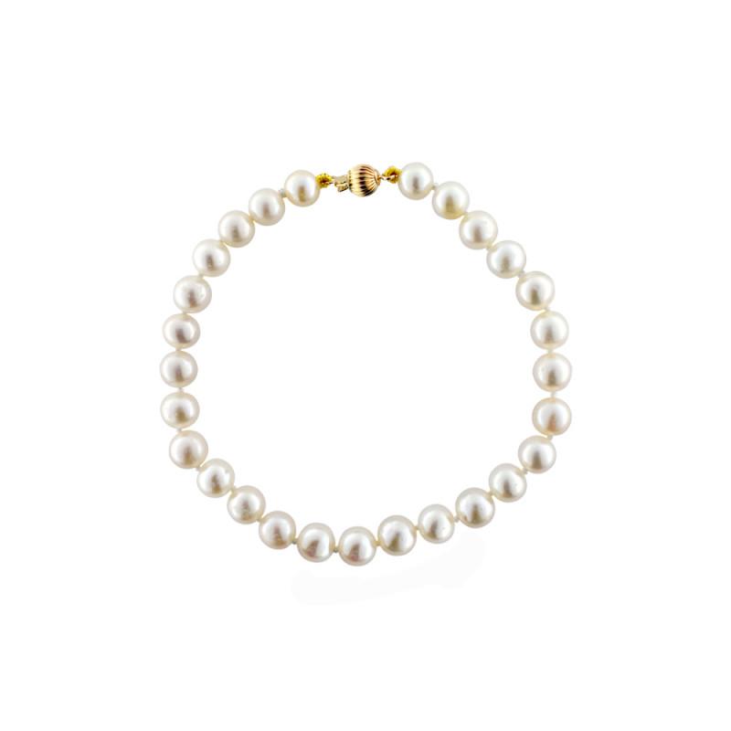 Βραχιόλι με μαργαριτάρια 6,0-6,5mm και χρυσό κούμπωμα Κ14 - G220113
