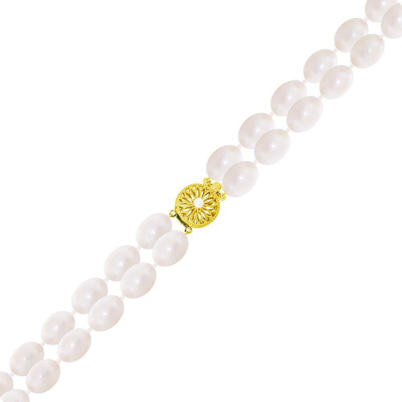 Βραχιόλι με μαργαριτάρια 7,0x8,0mm και χρυσό κούμπωμα Κ14 - G319960