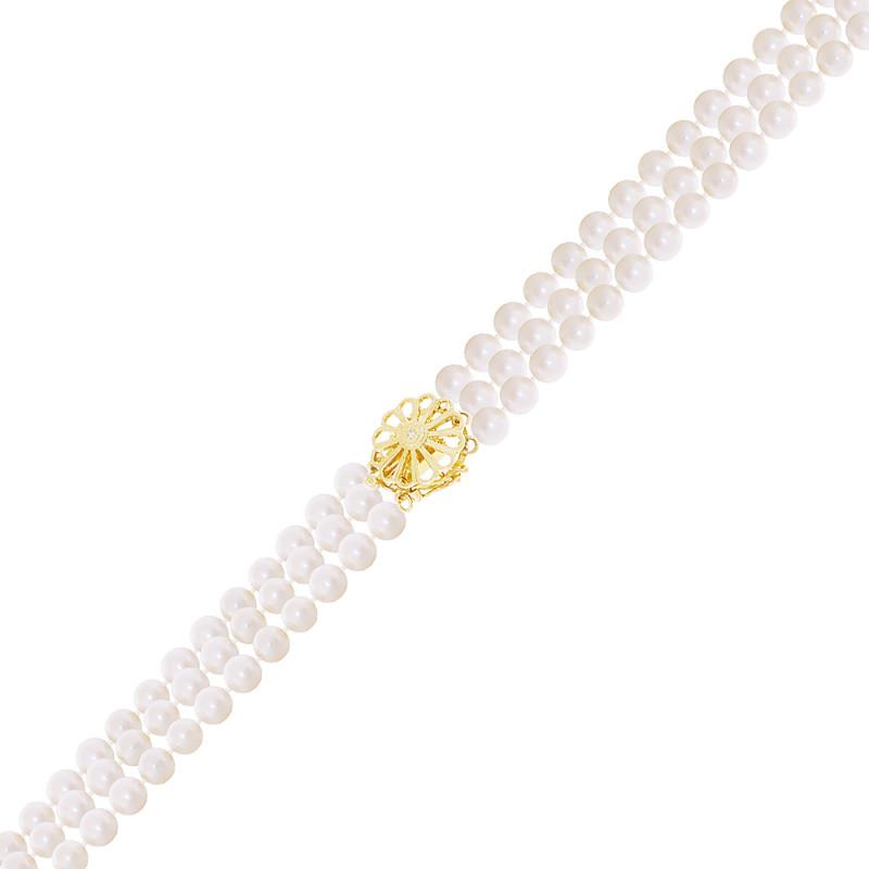 Βραχιόλι με μαργαριτάρια 4,5-5,0mm και χρυσό κούμπωμα Κ18 με διαμάντι - G319968