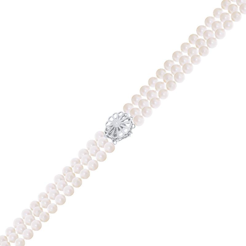 Βραχιόλι με μαργαριτάρια 4,5-5,0mm και λευκόχρυσο κούμπωμα Κ18 με διαμάντι - W319968