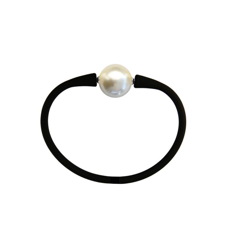 Βραχιόλι με Shell Pearl 14,0mm Black Elastic Silicon - M122358BRC