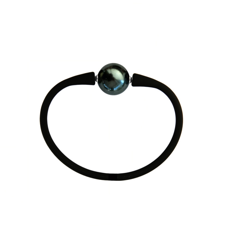 Βραχιόλι με Shell Pearl 14,0mm Black Elastic Silicon - M122358BBRC