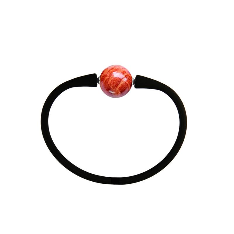 Βραχιόλι με Coral 14,0mm Black Elastic Silicon - M122358CBRC