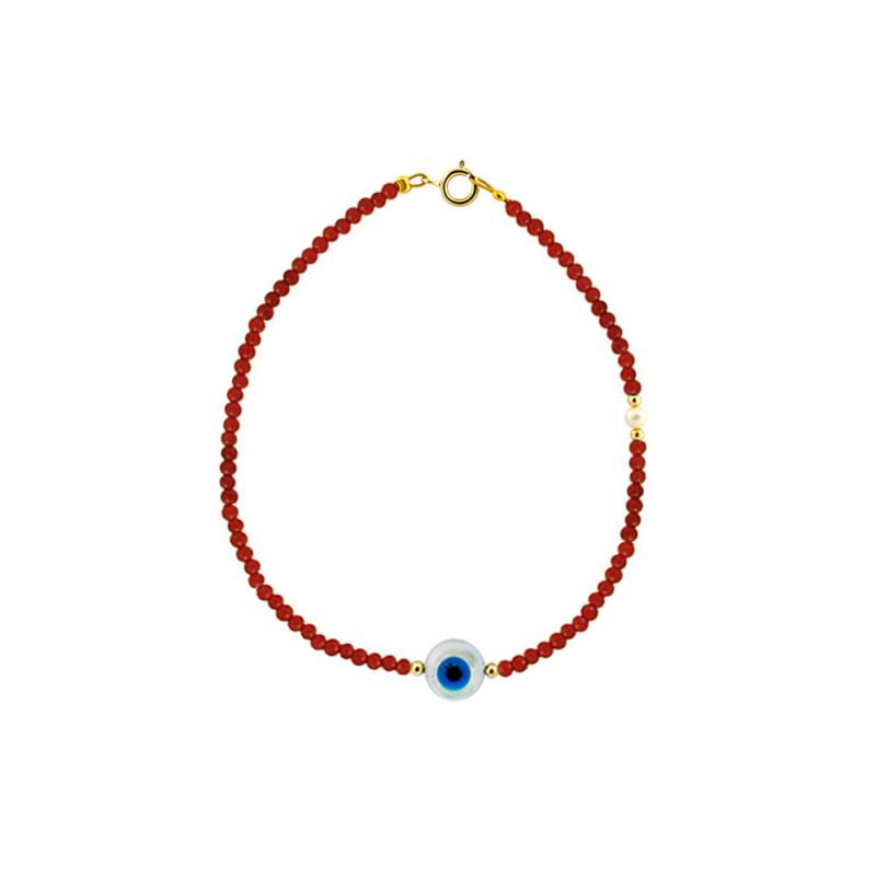 Βραχιόλι με κοράλλι, μαργαριτάρια και χρυσά στοιχεία Κ14 - M122744CE