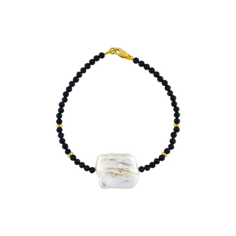Βραχιόλι με spinel, μαργαριτάρι και χρυσά στοιχεία Κ14 - M123176