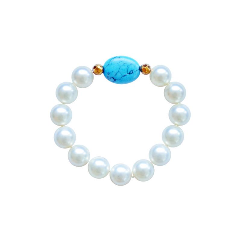 Βραχιόλι με Shell Pearl, Turquoise και Hematite - M123343A