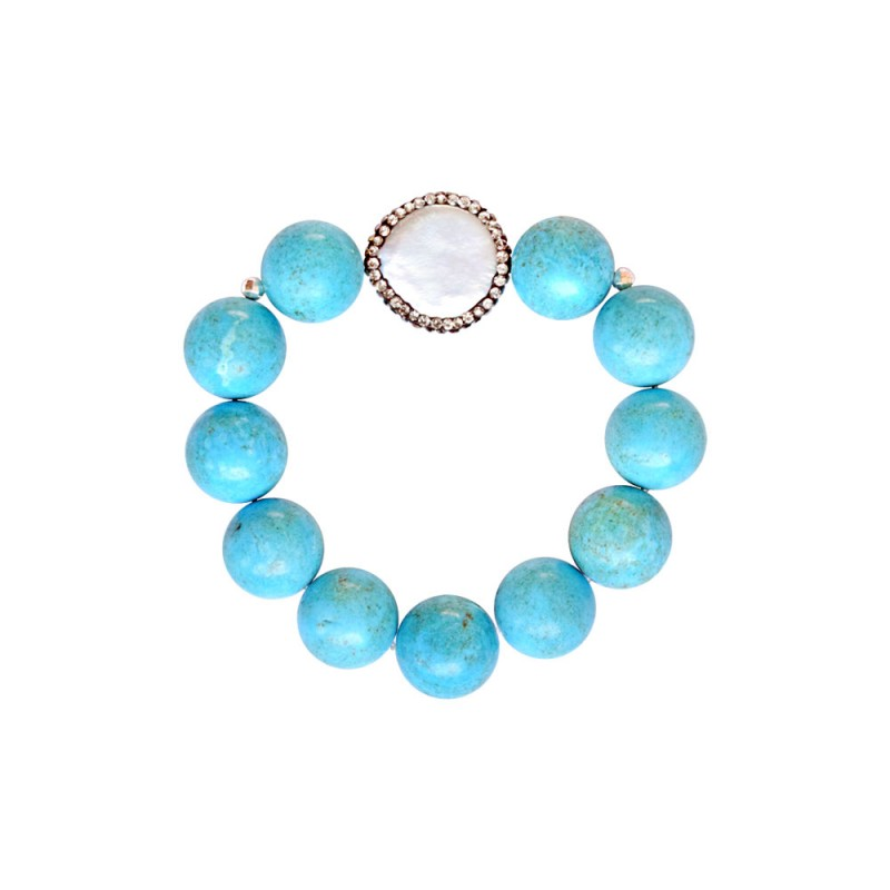 Βραχιόλι με Turquoise, Hematite και μαργαριτάρι με ζιργκόν - M123343B