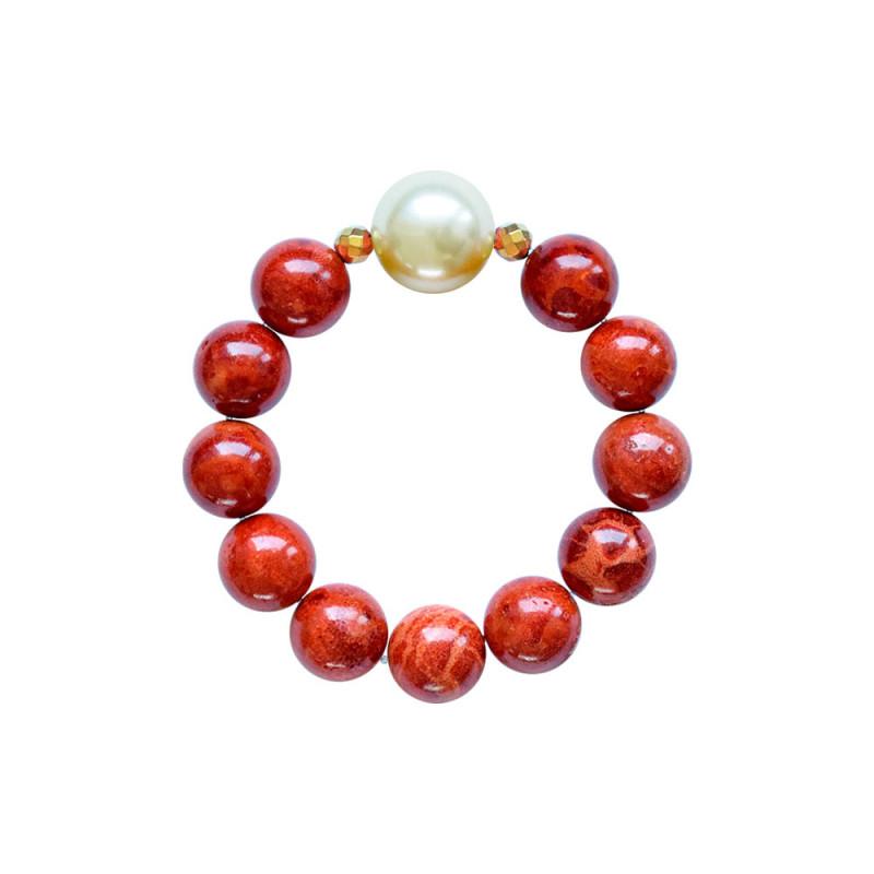 Βραχιόλι με Coral, Hematite και Shell Pearl - M123343D