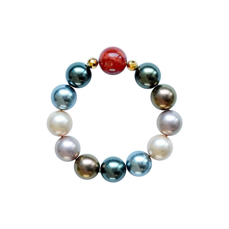 Βραχιόλι με Shell Pearl, Coral και Hematite - M123343E