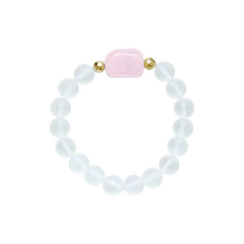 Βραχιόλι με Crystal, Rose Quartz και Hematite - M123343N
