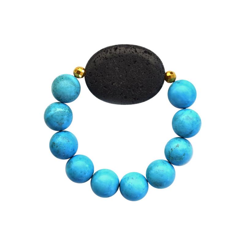 Βραχιόλι με Turquoise, Lava και Hematite - M123343P