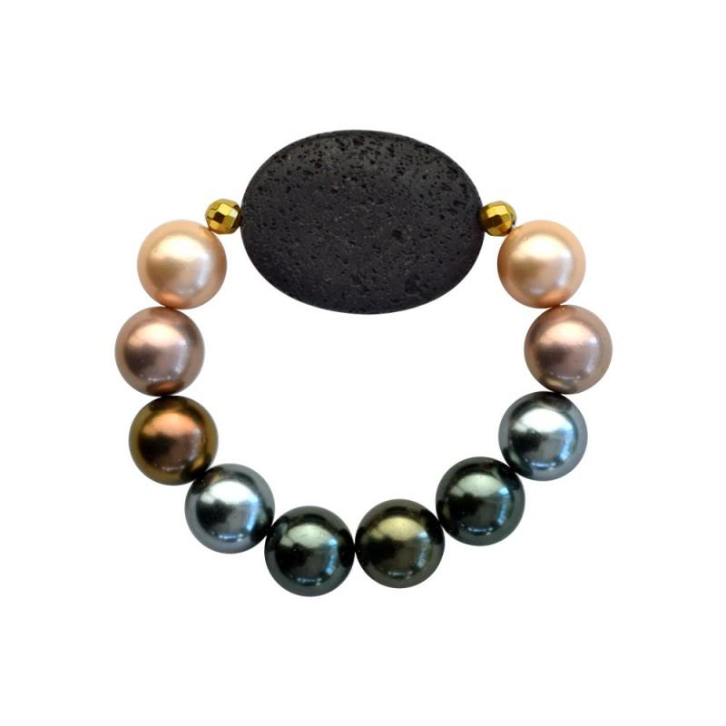 Βραχιόλι με Shell Pearl, Lava και Hematite - M123343Q