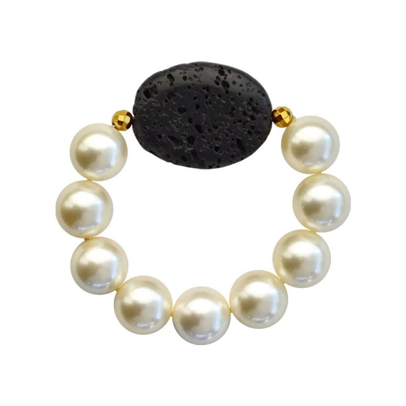 Βραχιόλι με Shell Pearl, Lava και Hematite - M123343R