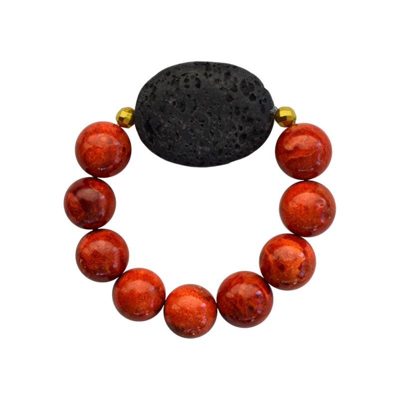 Βραχιόλι με Coral, Lava και Hematite - M123343S