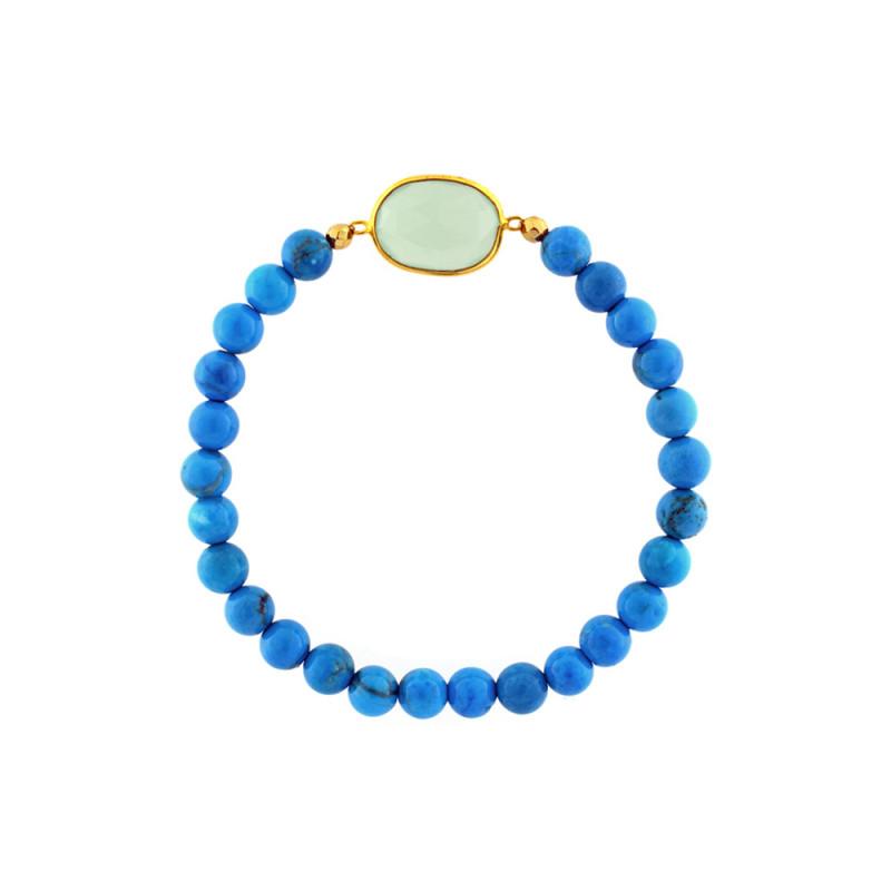 Βραχιόλι με Turquoise, Hematite και Peridot - M123537T