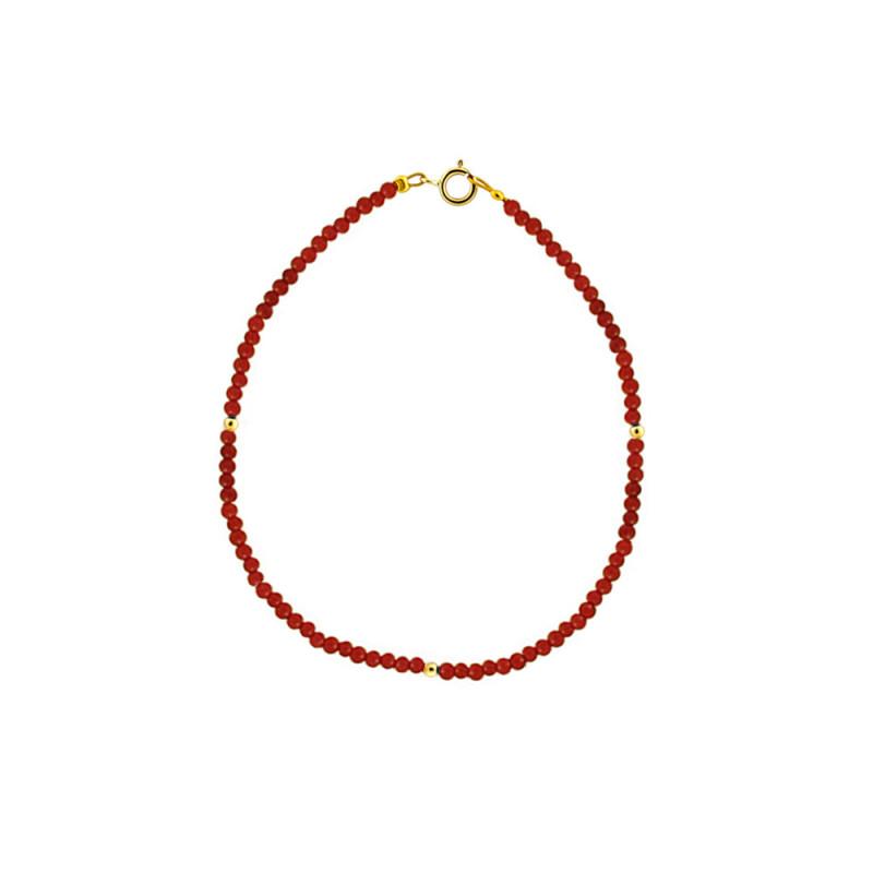 Βραχιόλι με κοράλλι και χρυσά στοιχεία Κ14 - M123731C