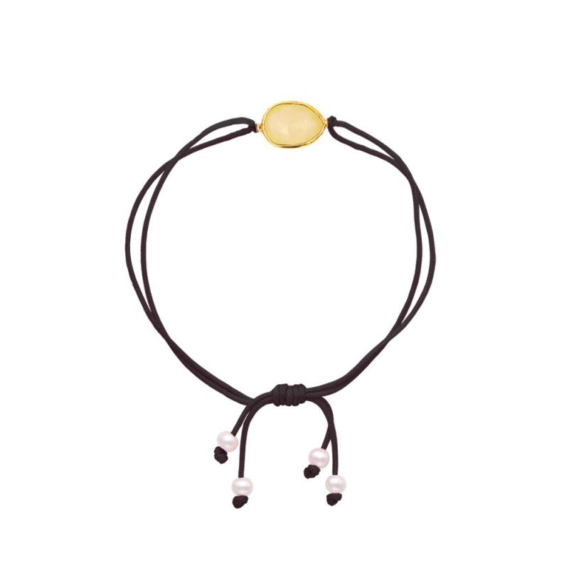 Βραχιόλι με Citrine, μαργαριτάρια και ασήμι 925 - M680401C