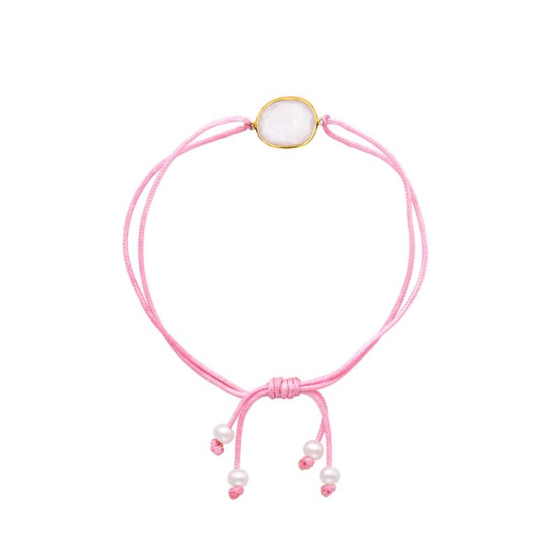Βραχιόλι με Rose Quartz, μαργαριτάρια και ασήμι 925 - M680401RQ