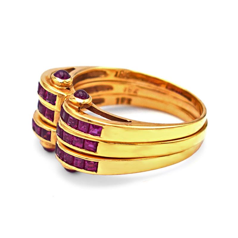 Δαχτυλίδι τριπλό με ρουμπίνια Κ18 χρυσό - M121785