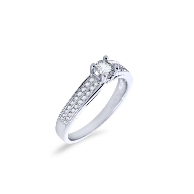Δαχτυλίδι μονόπετρο Κ18 λευκόχρυσο - M418953