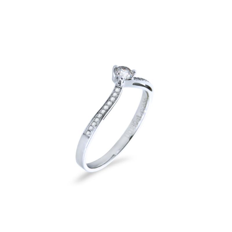 Δαχτυλίδι μονόπετρο Κ18 λευκόχρυσο - M418954