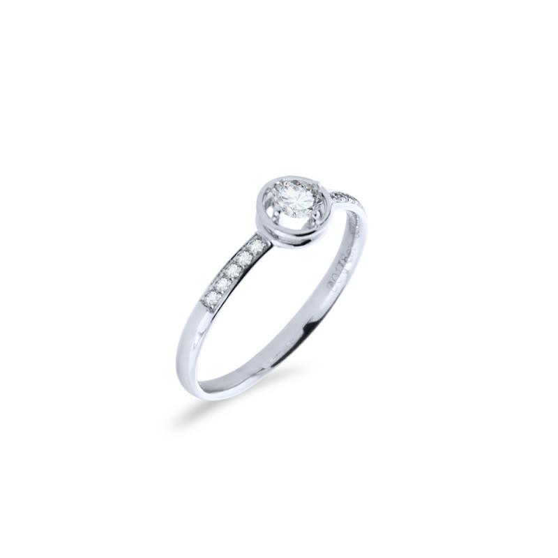 Δαχτυλίδι μονόπετρο Κ18 λευκόχρυσο - M418955