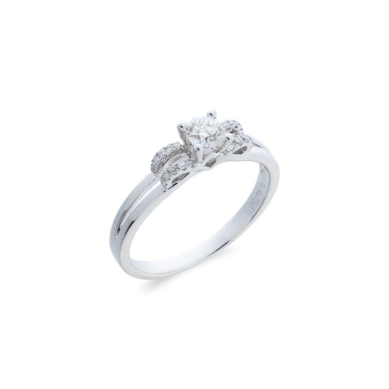 Δαχτυλίδι μονόπετρο Κ18 λευκόχρυσο - M718020
