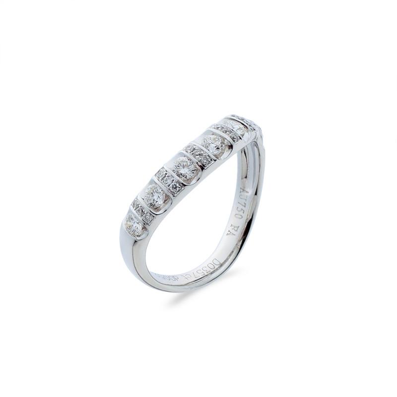 Δαχτυλίδι μισόβερο Κ18 λευκόχρυσο - M718021