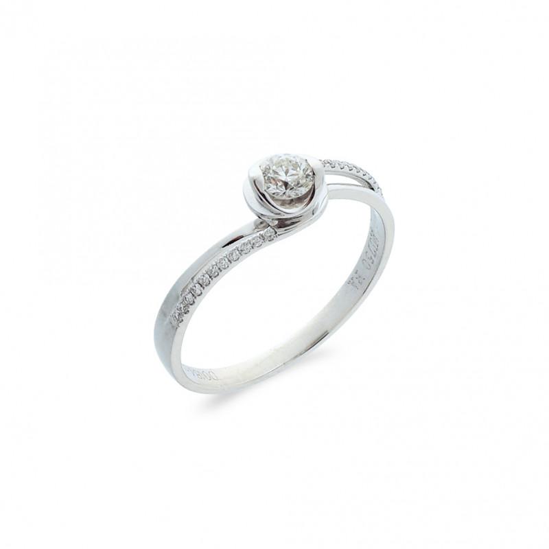 Δαχτυλίδι μονόπετρο Κ18 λευκόχρυσο - M718022